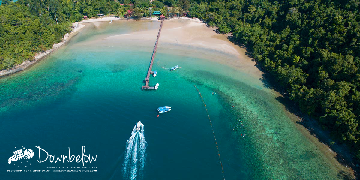 Down Below Adventures' beach house and jetty in Pulau Gaya, Sabah, Borneo for Scuba Diving